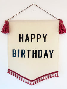 Large 'Happy Birthday' Raspberry Tassel Banner *Order slots available 8pm 1st June*