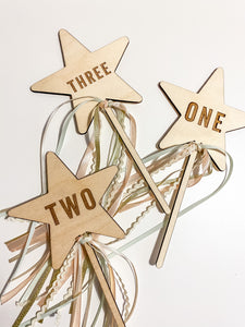 Wooden Number Star Wand