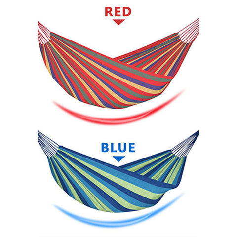 """👯♀️ Enjoy every minute of your leisure time! 👯♂️  Double Wide Thick Canvas Hammock  This comfortable & trendy extra-long HAMMOCK allows you and a friend to comfortably lounge anywhere you'd like whether poolside or on the patio.  Double Wide Thick Canvas Hammock  The tight weave & """"cocoon effect"""" makes this HAMMOCK one of the most relaxing hanging beds you'll ever find!  Double Wide Thick Canvas Hammock  Planning a camping trip or a lengthy Backpacking Excursion? This portable, lightweight HAMMOCK easily fits in your backpack or taken along in its carrying pouch.  Double Wide Thick Canvas Hammock  FEATURES: High Quality Hammock: Made of 100% recycled soft cotton fabric, touch soft and comfortable.Machine washable fabric will stay strong and clean for years.  PRACTICAL: EASY & FAST CONSTRUCTION Can be built without tools; The hammock can be easily assembled on any solid and level surface. You can enjoy your hammock within minutes.  Double Wide Thick Canvas Hammock  Two Person Hammock: Hammock's total length (from loop to loop) is 110 Inches while the bed resting area is 74.8 Inches Long X 39.4/59 Inches Wide. Comfortably accommodates 2 adults which can up load about 450lbs.  Double Wide Thick Canvas Hammock  Portable Hammock: Comes with a free carry pouch for easy transportation and easy to storage.You can take it camping, hiking or use it anywhere indoor or outdoor.  Double Wide Thick Canvas Hammock  Multi-purpose Hammock: Ideal for hiking, camping or traveling. It can be used in the back-yard of your house, beach for relaxing; It is a perfect alternative for tent, sleeping pad, ground mat, swing, cradle, or yoga mat.  Double Wide Thick Canvas Hammock  SPECIFICATIONS: Item: Hanging Hammock Material: Polyester Size:  74.8'' x 39.4'' (190 x 100cm) 74.8'' x 59.0'' (190 x 150cm) Color: Blue stripe, Red stripe Notes Due to the different monitor and light effect, the actual color of the item might be slightly different from the color showed on the pictures. Thank you! Ple"""