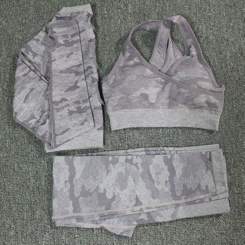 2PCS Camouflage Camo Yoga Set Sports Wear For Women