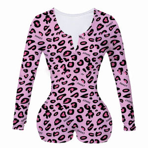 Women Onesie Underwear Bodysuit Long Sleeve Romper