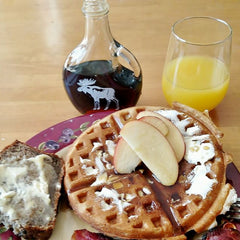 Brungot Farms Maple Syrup with Apple Cinnamon Pecan Waffles