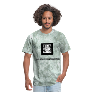 Black Hearts Matter Mens Graphic Tee - military green tie dye