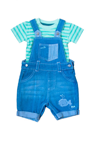 Aqua Top and Denim Whale Dungaree Set