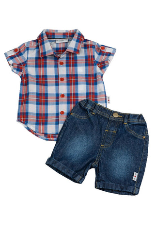 Boys Checked Shirt and Shorts Set