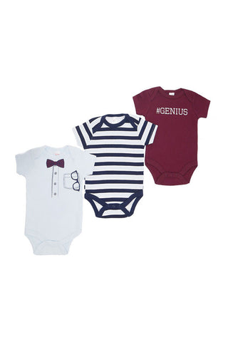 Short Sleeved 3 pack Assorted 'Genius' Themed Bodysuits