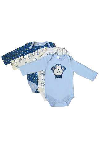 Long Sleeved Blue Monkey Assorted Set of 3 Bodysuits