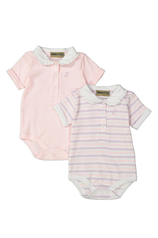 Pink Frill Collar 2 Pack Short Sleeve Bodysuits