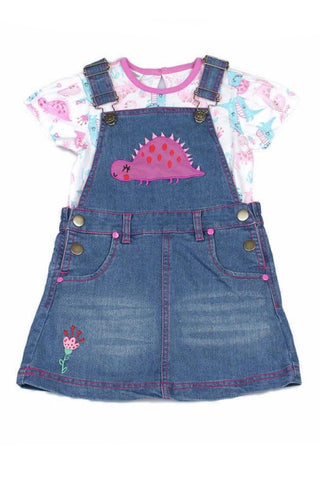 Dinosaur Denim Pinafore Set