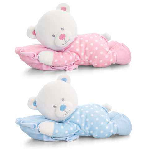 Baby Teddy Bear on Pillow Large 30cm