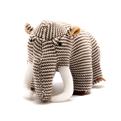 Brown Stripe Woolly Mammoth Knitted Dinosaur Toy