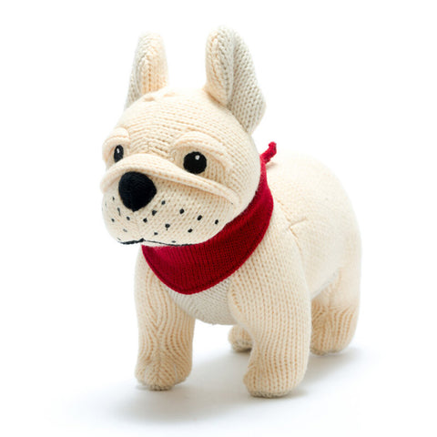 Knitted French Bulldog Baby Rattle