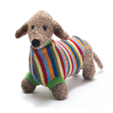 Knitted Sausage Dog Rattle