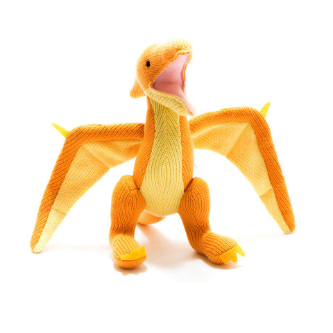Knitted Yellow Pterodactyl Dinosaur Toy