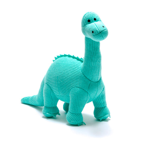 Large Ice Blue Diplodocus Knitted Dinosaur Toy