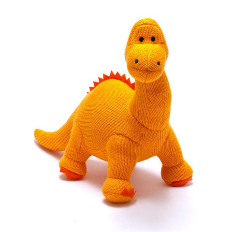 Large Orange Diplodocus Knitted Dinosaur Toy