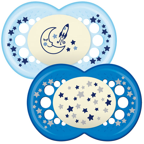 MAM Original Night Soother Blue 12m+ 2Pk