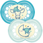 MAM Original Night Soother Blue 6m+ 2Pk