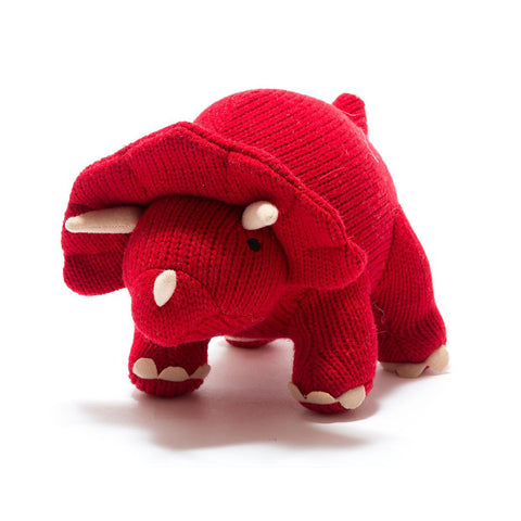 Medium Red Triceratops Knitted Soft Toy