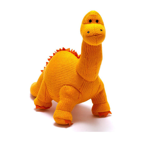 Medium Orange Diplodocus Knitted Dinosaur Toy