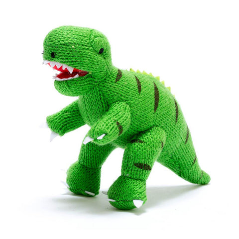Small Green T Rex Knitted Dinosaur Rattle