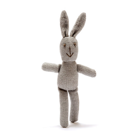 Small Knitted Organic Cotton Grey Bunny Baby Rattle