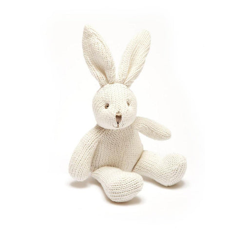Small Knitted Organic Cotton White Bunny Baby Rattle
