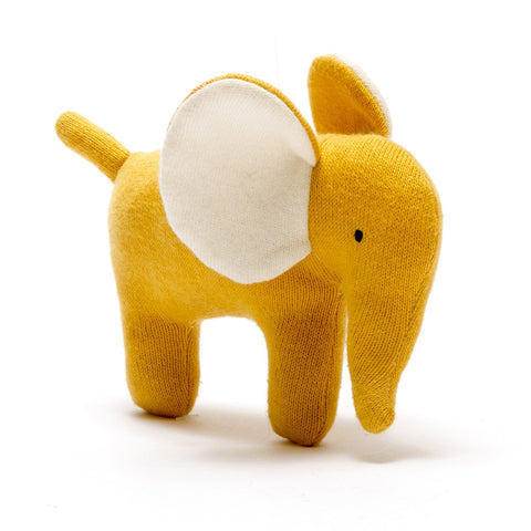 Small Mustard Organic Cotton Elephant Toy