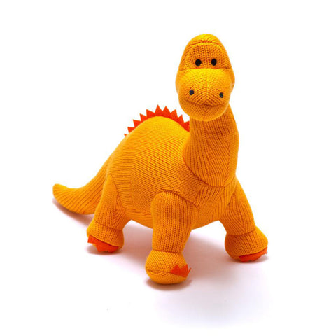 Small Orange Diplodocus Knitted Dinosaur Rattle