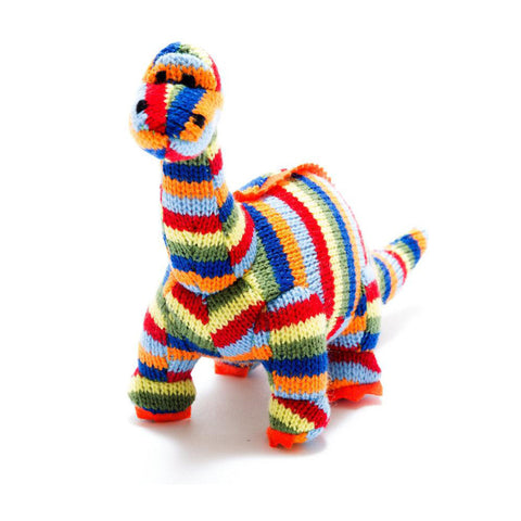 Small Stripe Diplodocus Knitted Baby Rattle