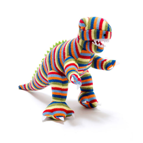 Small Stripe T Rex Knitted Dinosaur Rattle
