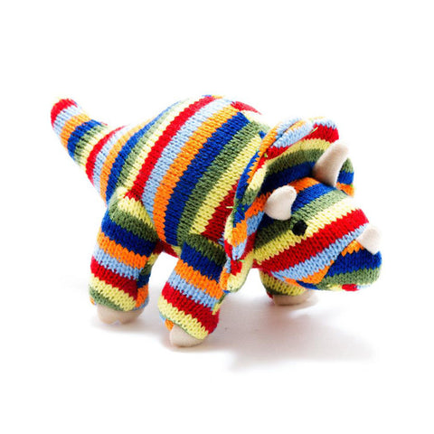 Small Stripe Triceratops Knitted Dinosaur Baby Rattle