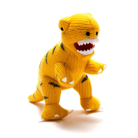 Small Yellow T Rex Knitted Dinosaur Rattle