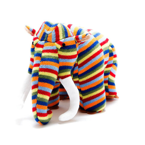 Stripe Knitted Woolly Mammoth Dinosaur Soft Toy