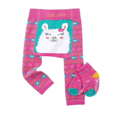 Zoocchini Legging and Sock Set Laney Llama 12-18M