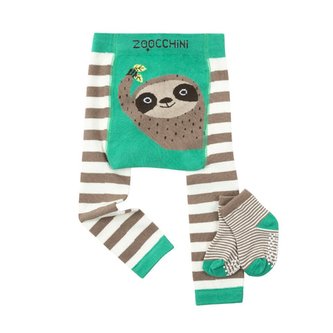 Zoocchini Legging and Sock Set Silas Sloth 12-18M