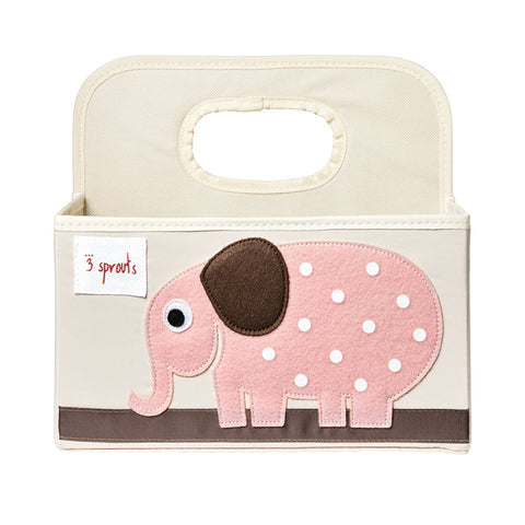 3 Sprouts Nappy Caddy Elephant Pink