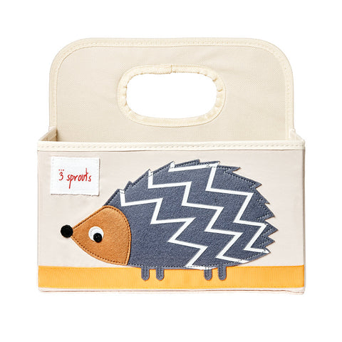 3 Sprouts Nappy Caddy Hedgehog Grey