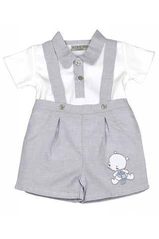 Grey And White Teddy Dungaree Shorts Set
