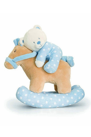 Baby Teddy Bear on Musical Rocking Horse 22cm