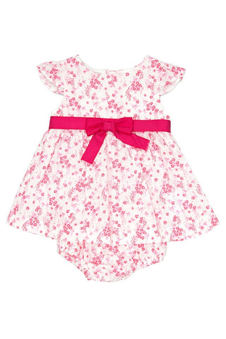Pink Floral Print Dress with Matching Knickers