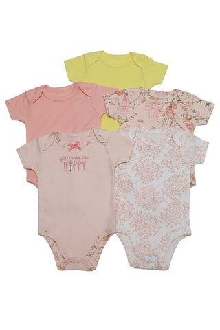 Pink and Yellow 5 Pack Short Sleeve Bodysuits