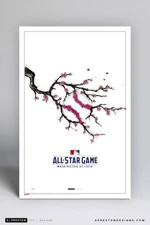 Minimalist 2018 All Star Game Illustration (Cherry Blossoms) Limited Edition - Washington Nationals - S. Preston Art + Designs