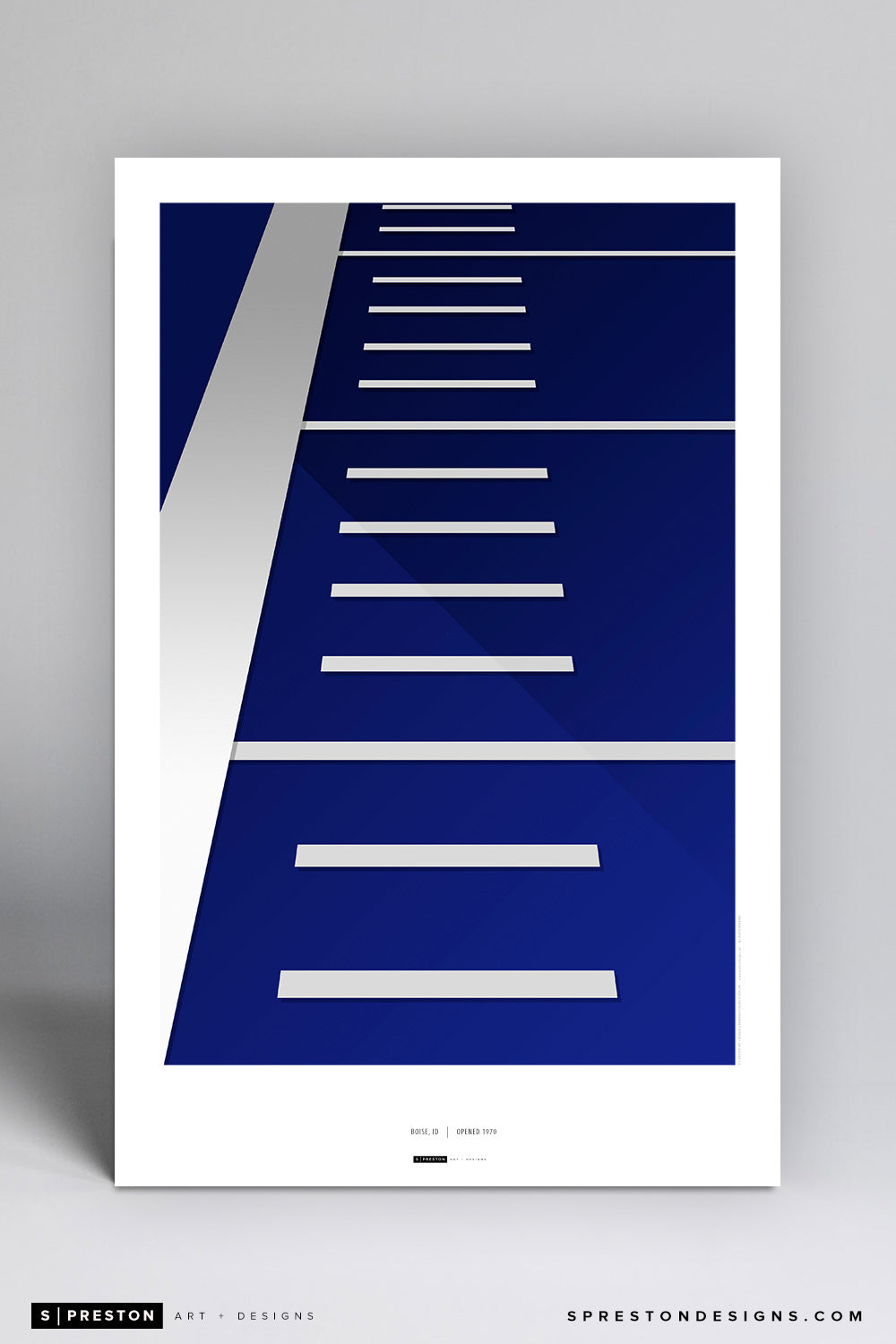 Minimalist Albertsons Stadium Poster Print - Boise State University - S. Preston Art + Designs