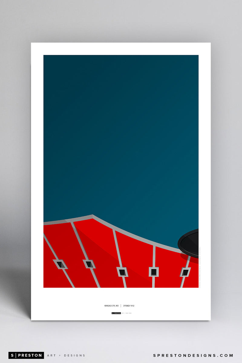 Minimalist Arrowhead Stadium Art Poster Art Poster - Kansas City Chiefs - S. Preston Art + Designs