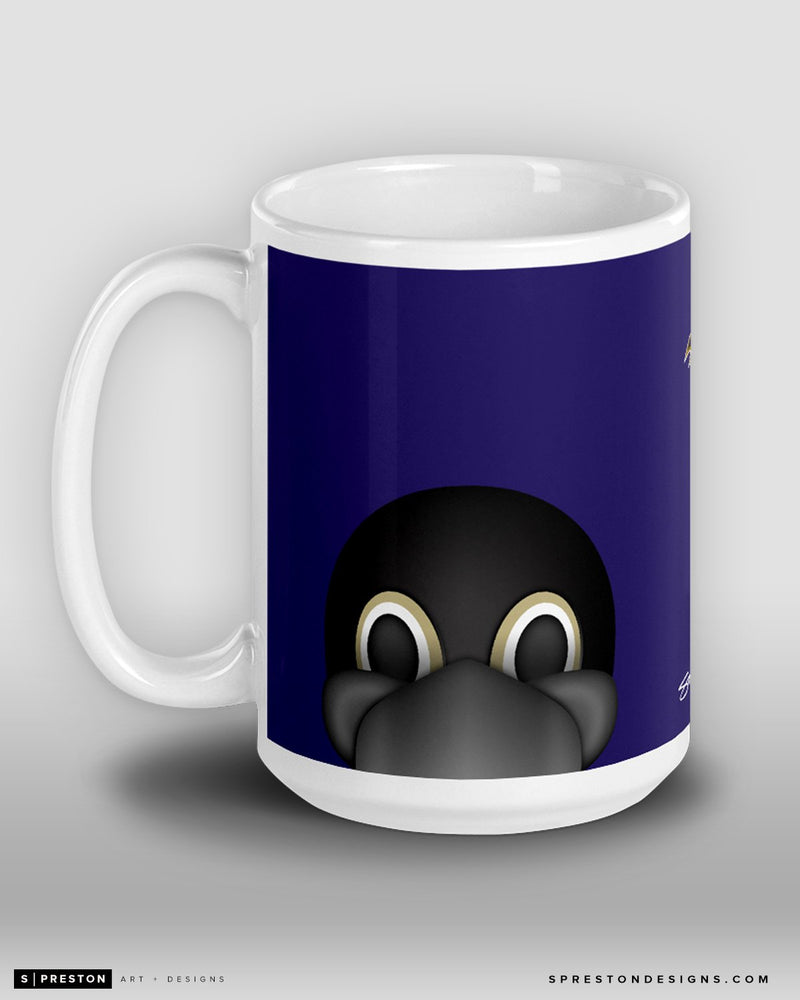 Minimalist Poe Coffee Mug Baltimore Ravens Mascot  - S. Preston