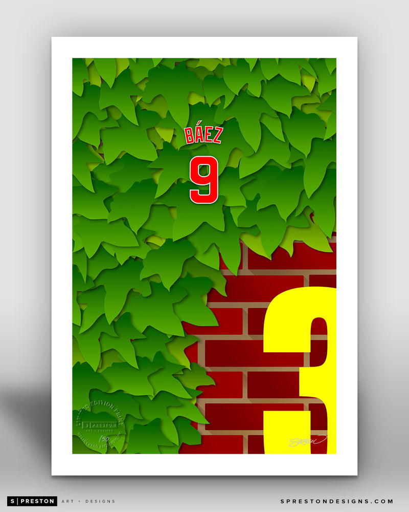 Minimalist Wrigley Field - Player Series - Javier Baez - Chicago Cubs - S. Preston