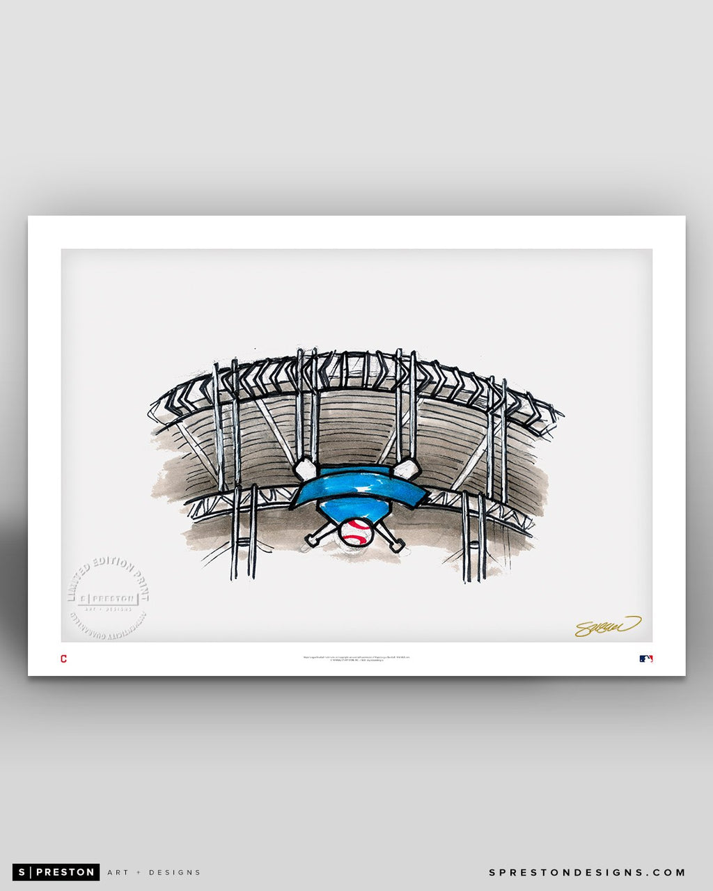 Progressive Field Ink Sketch - Cleveland Indians - by S. Preston