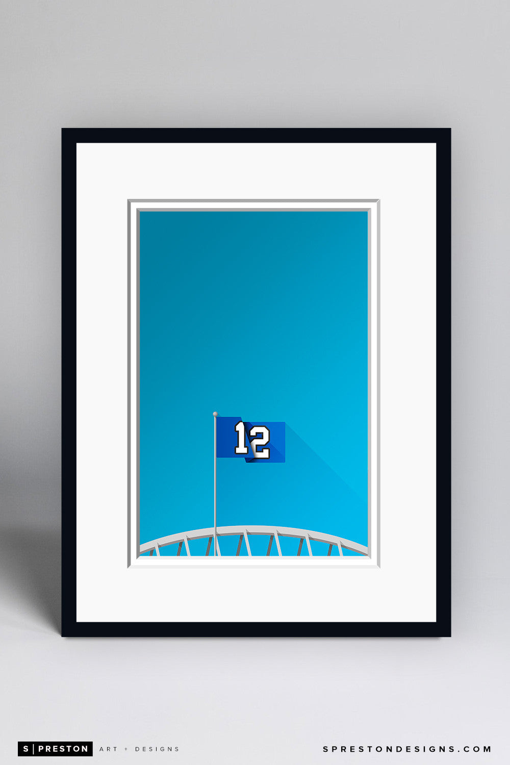 Minimalist CenturyLink Field Art Print - Seattle Seahawks - S. Preston Art + Designs