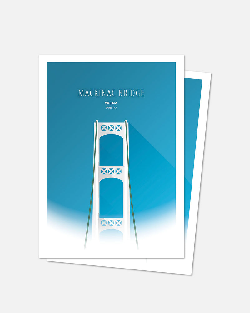 Minimalist Mackinac Bridge Bridge Art Card - Michigan